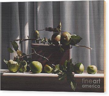 Wild Green Apples Wood Print by Larry Preston