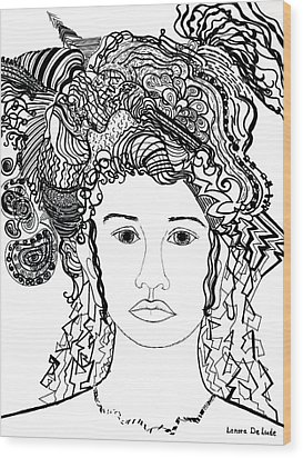 Wood Print featuring the drawing Wild Hair Portrait In Shapes And Lines by Lenora  De Lude