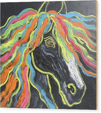 Wild Horse Wood Print by Isabelle Gervais