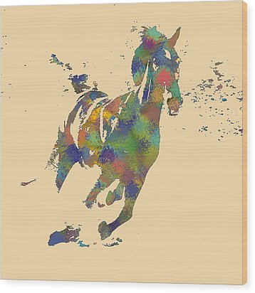Wild Horse Wood Print by Soumya Bouchachi