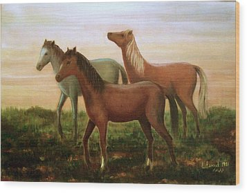 Wood Print featuring the painting Wild Horses At Sunset by Laila Awad Jamaleldin
