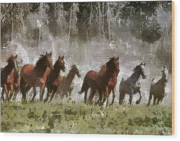 Wood Print featuring the painting Wild Horses by Georgi Dimitrov