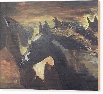 Wild Horses Wood Print by Krista Ouellette