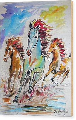Wild Horses Running Wood Print by Roberto Gagliardi
