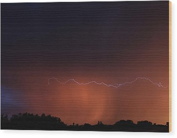 Wood Print featuring the photograph Wild Lightning by Ryan Crouse