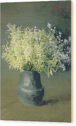 Wild Lilacs And Forget Me Nots Wood Print by Isaak Ilyich Levitan