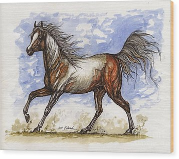 Wild Mustang Wood Print by Angel  Tarantella