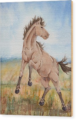 Wood Print featuring the painting Wild Mustang With Attitude by Rebecca Davis