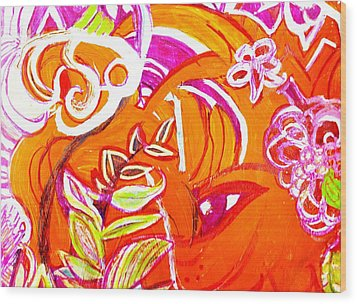 Wild Orange Woman Wood Print by Anne-Elizabeth Whiteway