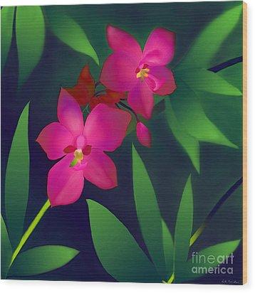 Wood Print featuring the digital art Wild Orchids by Latha Gokuldas Panicker