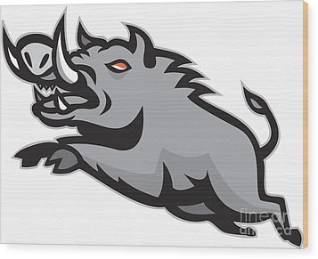 Wild Pig Boar Jumping Isolated Wood Print by Aloysius Patrimonio