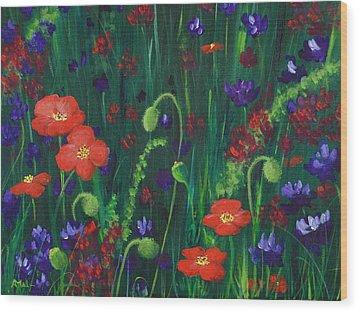 Wild Poppies Wood Print by Anastasiya Malakhova