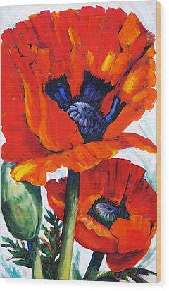 Wild Poppies - Floral Art By Betty Cummings Wood Print by Sharon Cummings