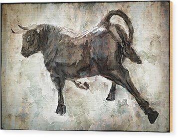 Wild Raging Bull Wood Print by Daniel Hagerman