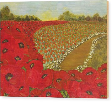Wild Red Poppies Wood Print