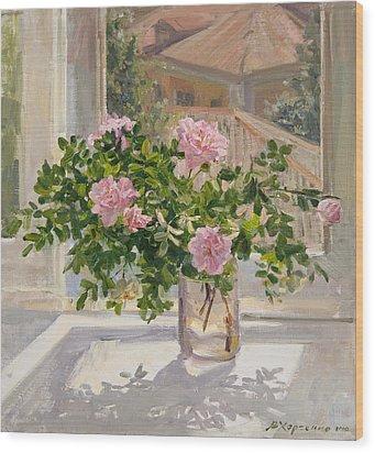 Wild Rose Wood Print by Victoria Kharchenko