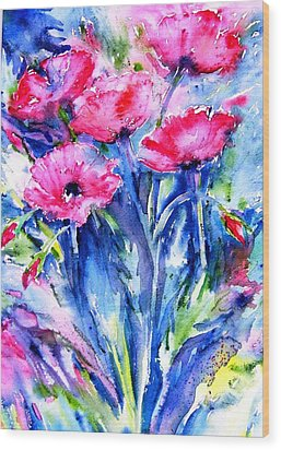 Wood Print featuring the painting Wild Scarlet Poppies  by Trudi Doyle