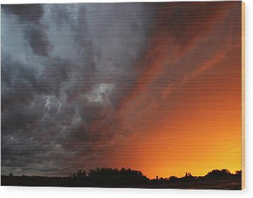 Wood Print featuring the photograph Wild Storm Clouds Over Yorkton by Ryan Crouse