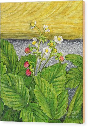 Wood Print featuring the painting Wild Strawberries In Summer by Jingfen Hwu