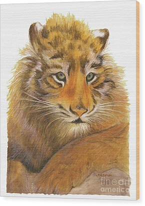 Wood Print featuring the painting Wild Tiger Cub by Nan Wright