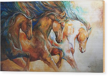 Wild Trio Run Wood Print by Marcia Baldwin