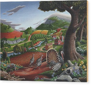 Wild Turkeys Appalachian Thanksgiving Landscape - Childhood Memories - Country Life - Americana Wood Print