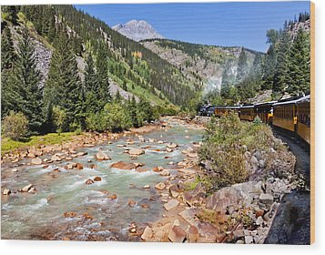 Wild West Train Ride Along The Animas River From Durango To Silverton Colorado Wood Print by Karen Stephenson