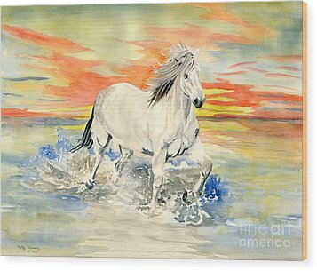 Wild White Horse Wood Print by Melly Terpening