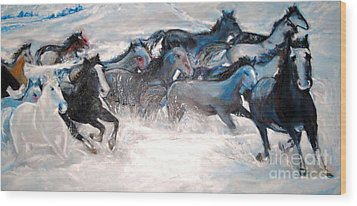 Wild Wild Horses Wood Print by Helena Bebirian