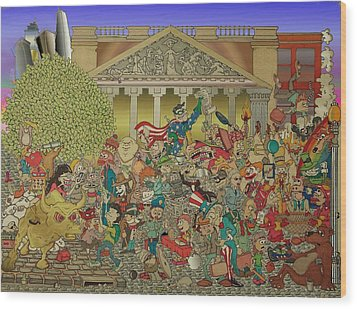 Wild Wild Wall Street Wood Print by Paul Calabrese