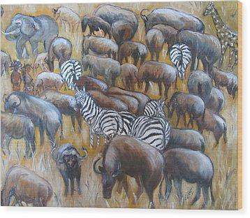 Wildebeest Migration In Kenya Wood Print