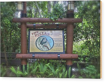 Wilderness Lodge Sign Wood Print by Thomas Woolworth
