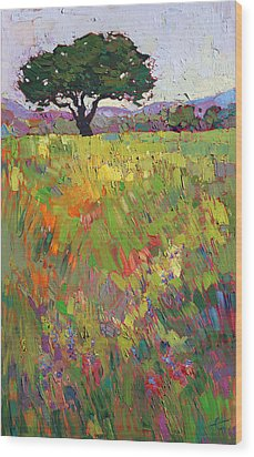 Wildflower Hill Wood Print by Erin Hanson