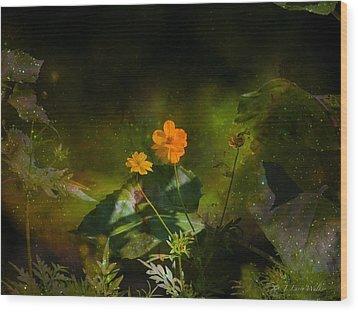 Wood Print featuring the digital art Wildflower In The Twilight Zone by J Larry Walker