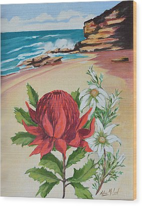 Wildflowers And Headland Wood Print by Aileen McLeod