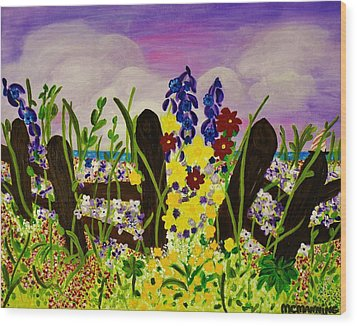 Wood Print featuring the painting Wildflowers By The Sea by Celeste Manning