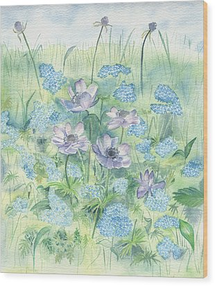 Wood Print featuring the painting Wildflowers by Elizabeth Lock
