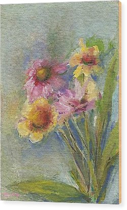 Wood Print featuring the painting Wildflowers by Mary Wolf
