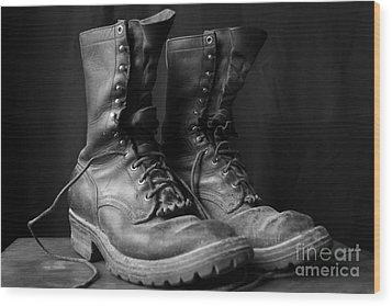 Wood Print featuring the photograph Wildland Fire Boots Still Life by Kerri Mortenson