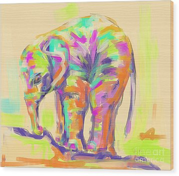 Wildlife Baby Elephant Wood Print by Go Van Kampen