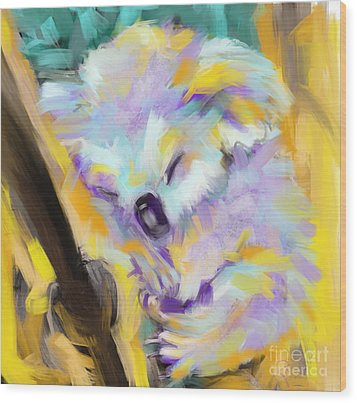 Wildlife Cuddle Koala Wood Print by Go Van Kampen