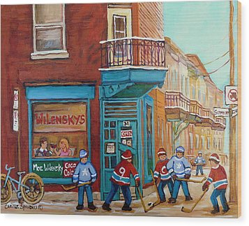 Wilensky Montreal-fairmount And Clark-montreal City Scene Painting Wood Print by Carole Spandau