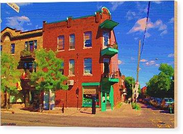 Wilenskys Deli Light Lunch Famous Sandwich Coffee Shop Art Of Montreal Street Scene Carole Spandau Wood Print by Carole Spandau