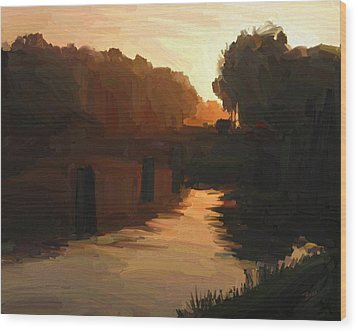 Wood Print featuring the painting Wilhelmina Canal In Autumn Morning Light by Nop Briex