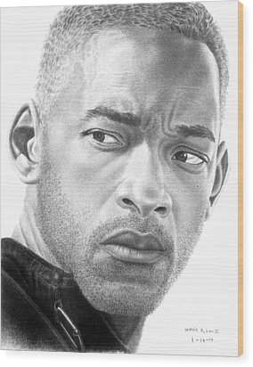 Will Smith Wood Print by Marvin Lee