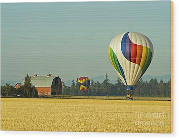 Wood Print featuring the photograph Willamette Valley Ballooning by Nick  Boren