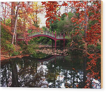 William And Mary College  Crim Dell Bridge Wood Print by Jacqueline M Lewis