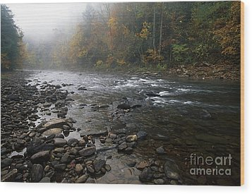 Williams River Autumn Mist Wood Print by Thomas R Fletcher