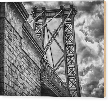 Wood Print featuring the photograph Williamsburg Bridge From Brooklyn New York by Linda Karlin