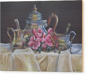 Wood Print featuring the painting Williamsburg Stieff Tea Set by Phyllis Beiser